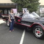 Debbie with the Batmobile